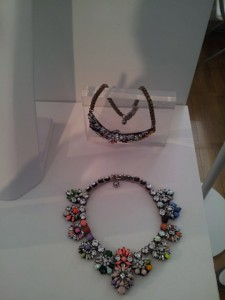 "LONDON FASHION WEEK @ SOMERSET HOUSE. CHOSEN FROM A WIDE SELECTION OF IMAGINATIVE FASHION JEWELLERY, ""RED CARPET"" NECKLACE PRESENTED BY VALERY DEMURE SHOWROOM"