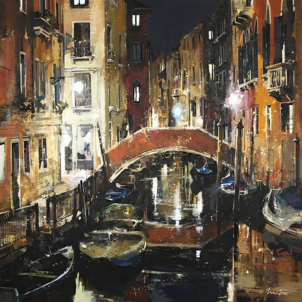 Venice. Mixed Media painting 120X120 cms, by Mitro, French-Roumainian ...