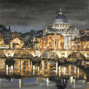 Rome at Night. Painting by Mitro