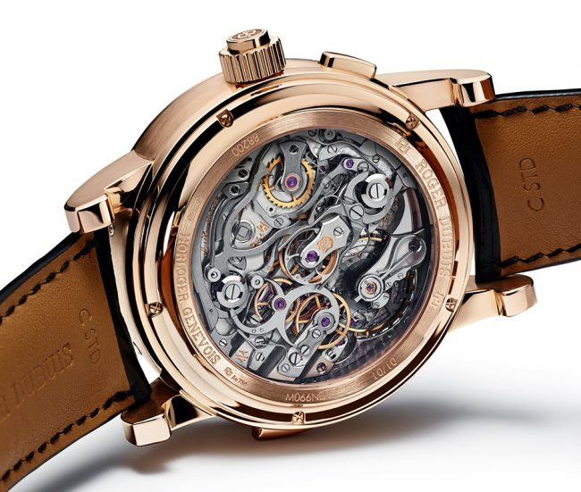 "The Hommage Millesime 2 is one of last year's most complicated watches – but it never showed its face until now Followers of Roger Dubuis could well have been forgiven for writing 2016 off as an unremarkable year. The brand's showing at SIHH focussed almost excusively on ladies' watches, and the attention seemed to be on glamorous new iterations of existing (albeit impressive in their own right) skeletonised calibres. And now this: the Hommage Millesime 2. It combines – deep breath – a split-seconds chronograph, a perpetual calendar with bi-retrograde date displays and a minute repeater. The combination of chronograph, calendar and chiming functions makes it a bona fide grande complication. Roger-Dubuis-Millesime-Hommage-2-2 And… you will never see it. Very few people will. It is a unique piece, made for the American market, and it has already been sold to a New York collector. The watch was shown at the opening of Roger Dubuis' first New York boutique last year, in fact, but wasn't publicised any wider. Why so rare? Quite apart from the intensely demanding nature of producing such a watch (even non-limited grande complications tend to be counted in the single digits), the Hommage Millesime 2 is a piece unique because only one movement exists. Roger-Dubuis-Hommage-Millesime-Unique-Pocket-Watch-1 The Millesime project is a restoration project at heart; complicated calibres from the late 19th and early 20th century have been sourced, re-built and re-designed in a style in-keeping with the brand (and in-keeping with the fact that Roger Dubuis himself began life as a restorer of pocket watches). The project was announced with the release of a pocket watch, mid-way through 2015. This also combined minute repeater, perpetual calendar and chronograph functions with retrograde displays, and clearly follows the same aesthetic approach. Every Millesime watch has also been finished to Poincon de Geneve standards (in line with everything else the brand produces). ROGER_DUBUIS_HOMMAGE_MILLESIME_movement Take a look at the movement here – a thing of beauty that reminds us of the sensational hand-wound chronographs we photographed last year. Most visible is the chronograph mechanism, with the pincer-shaped split-seconds levers in the centre of the movement. Two column wheels are used, both capped with a top plate and large screw (Patek Philippe is one other brand to cap off its column wheels; most other brands like to leave them open). To the right of the split-seconds column wheel (near where it says ""Roger"" on the case) is a hammer for the minute repeater; we would expect there to be a second hammer nearby but it's not clear where. Also notable is the large balance wheel with several fine adjustment points. When possible, we will update this piece with more information from Roger Dubuis about the movement chosen for this watch. The movement is signed in various places, reading ""1/1"", ""Forty Jewels"", ""RD 180"" (the new designation for the restored movement) and at least one further inscription we're not clear on."