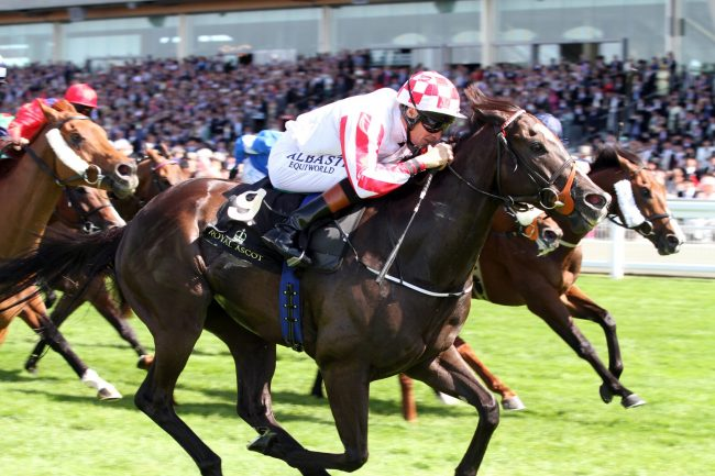17 June 2014; SOLE POWER and Richard Hughes storm to victory in The King's Stand Stakes at Royal Ascot. © Peter Mooney, 6, Cumberland Street, Dun Laoghaire, Co. Dublin, Ireland. Tel: 00 353 (0)86 2589298