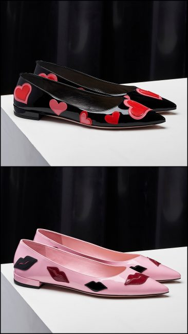 0212d37b789 Prada patent leather Hearts   Lips flatties for Spring Summer 2017