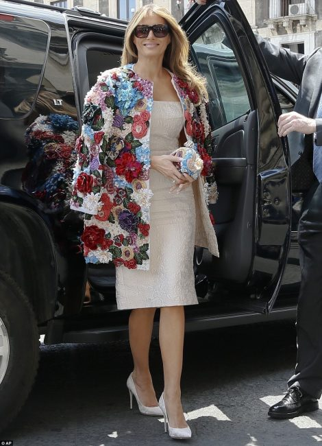 584140cab3 Melania Trump arrives in Sicily in totally Sicilian inspired outfit from the  Italian design Duo Dolce Gabbana.Photo courtesy Daily Mail On Line.