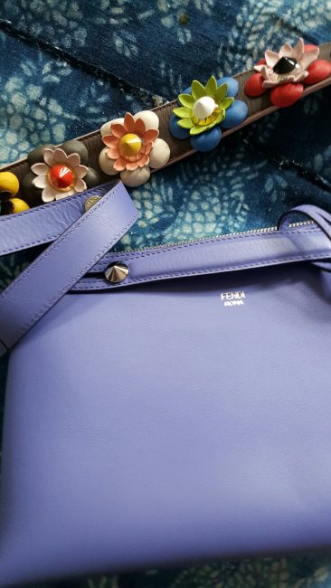 f78bf6385d1 Fendi bag for summer, in lilac leather, small clutch handles, customised  personal initial tag and elaborate leather flower & bead shoulder strap.